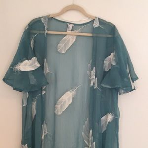 Forever 21 Floral Kimono Small Beach Cover Up